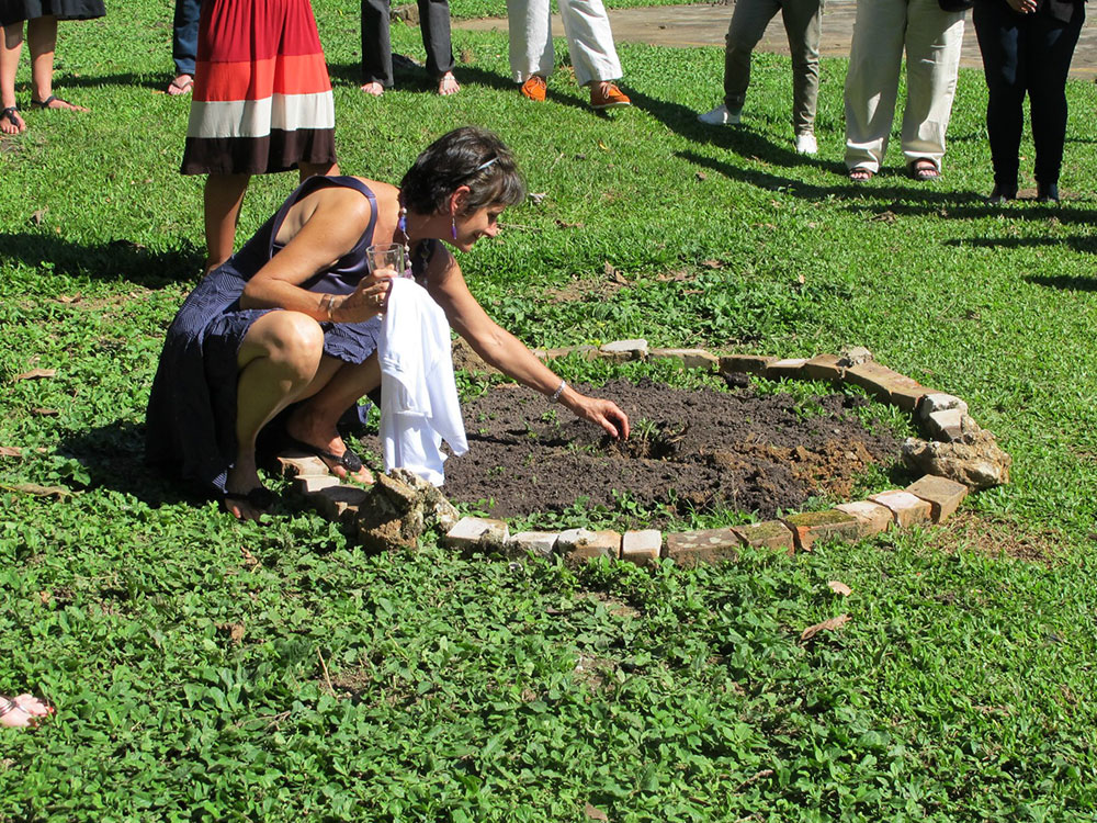 The same woman from the cover photo, with white skin and short brown hair, is crouching on a lawn, stretching her left arm towards a circle of dark earth. She is wearing a black dress and a thin blue tiara on her head. With her right hand, she is holding a clear glass cup and a piece of white cloth. In the back is a lawn and various people wearing shoes.