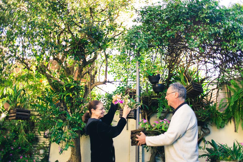 A mesma senhora e o mesmo senhor da foto anterior olham um para o outro, em pé, enquanto manuseiam flores cor-de-rosa em vasos suspensos. Ao fundo, árvores altas de folhagem verde escura, plantas suspensas e um muro cor de areia.