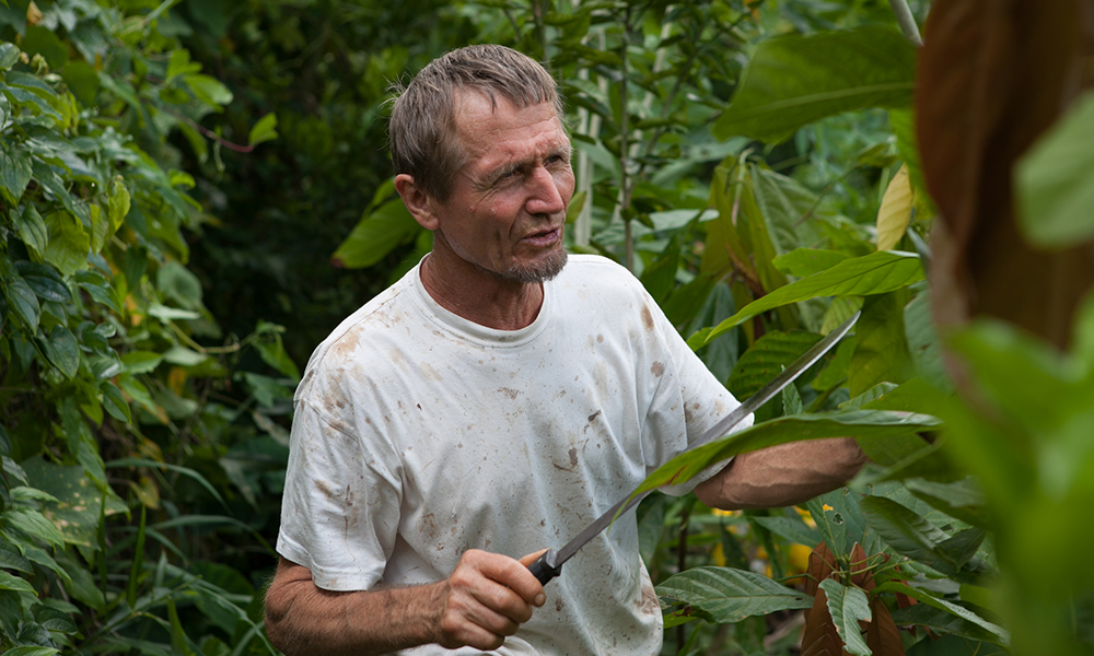A gray-haired man wearing a white T-shirt with a bowie knife in his hand in the middle of the forest.