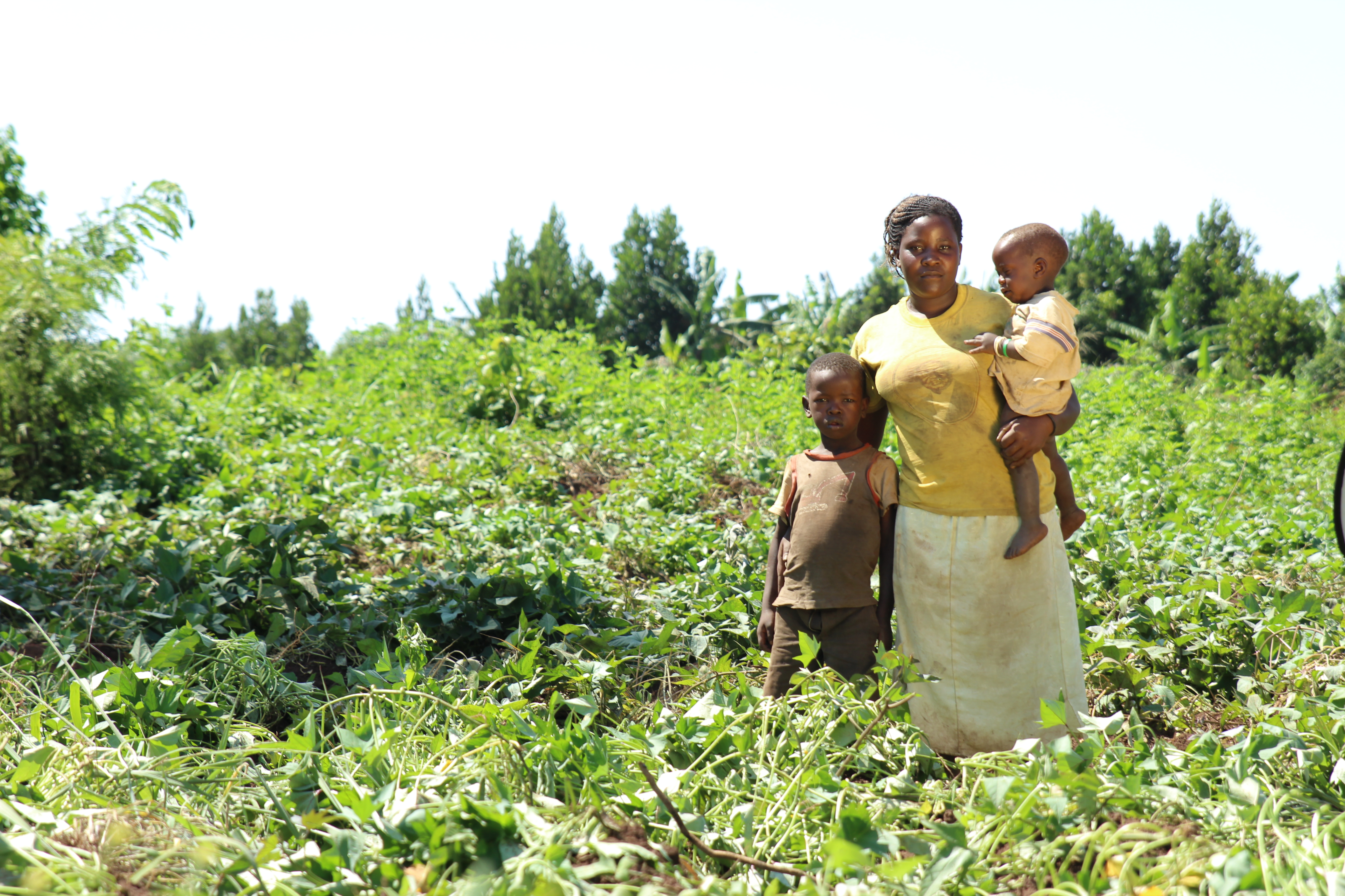 In a field of green plants, a black woman with her hair tied back, wearing a yellow shirt and a long, cream-colored skirt, holds a black baby in her left arm, resting her right hand on the back of a black boy, who appears to be about 7 years old. They are looking at the camera.