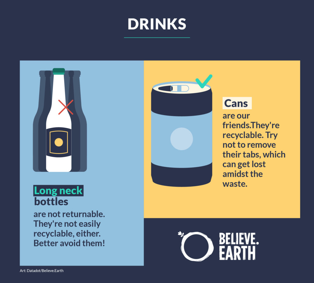 Long neck bottles are not returnable. They're not easily recyclable, either. Better avoid them! Cans are our friends. They're recyclable. Try not to remove their tabs, which can get lost amidst the waste.