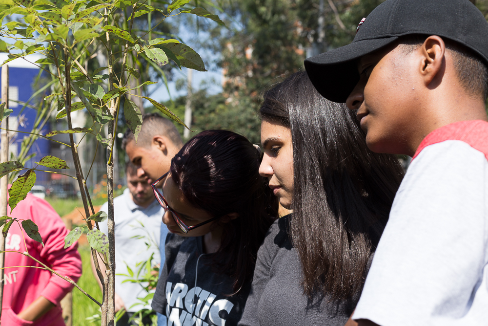 Close-up of teenagers looking at a seedling. On the left is a white girl with black hair wearing glasses; in the middle is another white girl with black hair; on the right is a black boy wearing a black cap. In the background, a couple more boys, also looking at the seedling. A person in a hot pink sweatshirt is only partially shown.