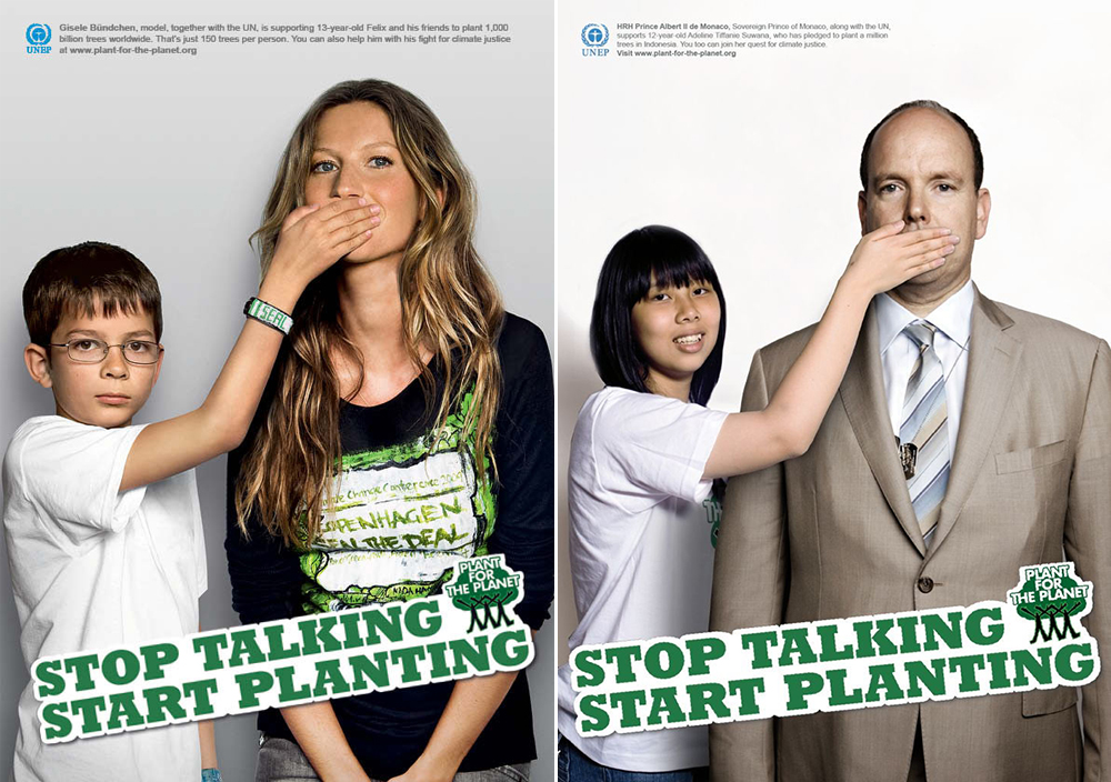 A series of three public service announcements (PSAs). The first one, on the left, is a thin, white boy with light brown hair. He is wearing glasses and a white T-shirt, and with his right hand, covering the mouth of a tall, thin woman with long, blond hair and blue eyes. In the second PSA, on the right, shows a black child, who is wearing a white T-shirt and black hat, covering the mouth of a bald, white man. The man is wearing a brown jacket, a shirt and a tie.