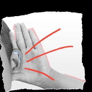 Arte creada por Lunetas, hecha de una foto en blanco y negro de parte de la cara de un niño blanco. Está enfocada la oreja y el niño pone la palma de su mano abierta detrás de ella. Un dibujo de tres rayas rojas saliendo de la oreja simbolizan que el niño está oyendo algo.