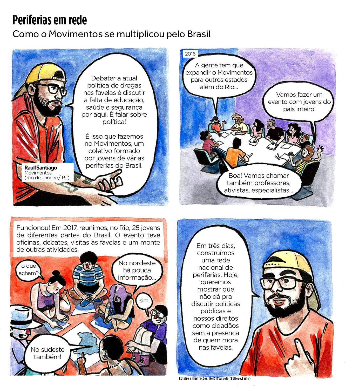 Título: Periferias em rede Linha fina: Como o Movimentos se multiplicou pelo Brasil Quadro 1 Raull: Debater a atual política de drogas nas favelas é discutir a falta de educação, saúde e segurança por aqui. É falar sobre política! É isso que fazemos no Movimentos, um coletivo formado por jovens de várias periferias do Brasil. Quadro 2 (2017) Raull (na reunião do Movimentos): A gente tem que expandir o Movimentos para outros estados além do Rio... Integrante: Vamos fazer um evento com jovens do país inteiro! Outro integrante: Boa! Vamos chamar também professores, ativistas, especialistas... Quadro 3 Raull (narração): Funcionou! Em 2017, reunimos, no Rio, 25 jovens de diferentes partes do Brasil. O evento teve oficinas, debates, visitas às favelas e um monte de outras atividades. Quadro 4 Raull: Em três dias, construímos uma rede nacional de periferias. Hoje, queremos mostrar que não dá pra discutir políticas públicas e nossos direitos como cidadãos sem a presença de quem mora nas favelas.